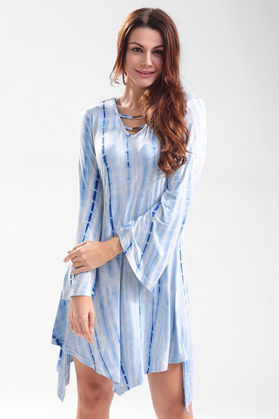 Ellady Blue Tie-dyed Casual Dress