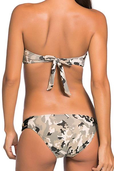 Ellady Camouflage Printed Low-rise Hollow-out Sexy Bikini Sets