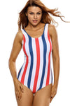 Ellady Colorful Stripes Lace Up Back One Piece Swimsuit