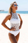 Ellady Crochet High Neck Tankini Top&Bottom