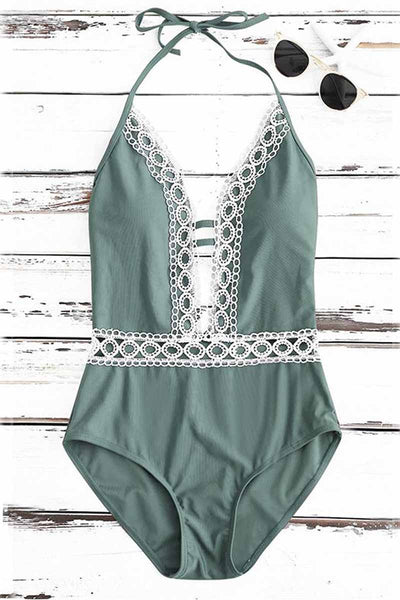 Ellady Deep Plunge Neck Crochet Panel Halter Backless One Piece Swimsuit