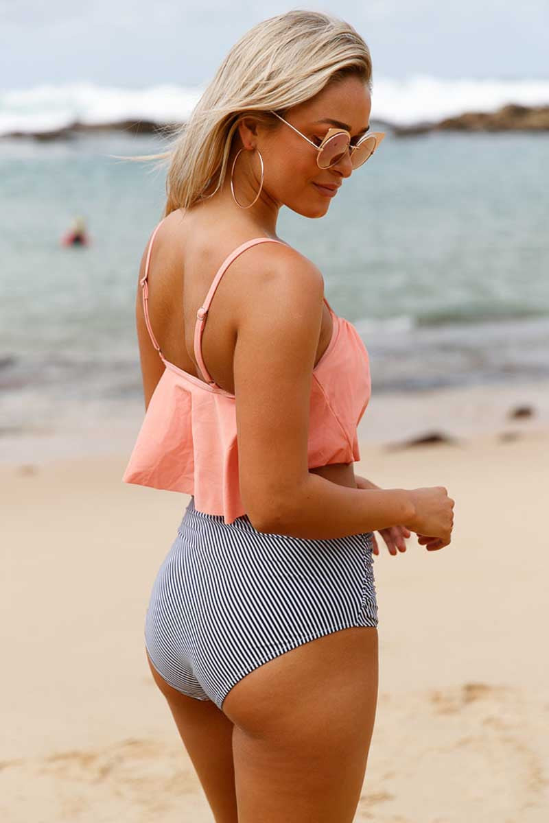 Ellady Glowing Top and Striped Bottom High Waist Swimwear