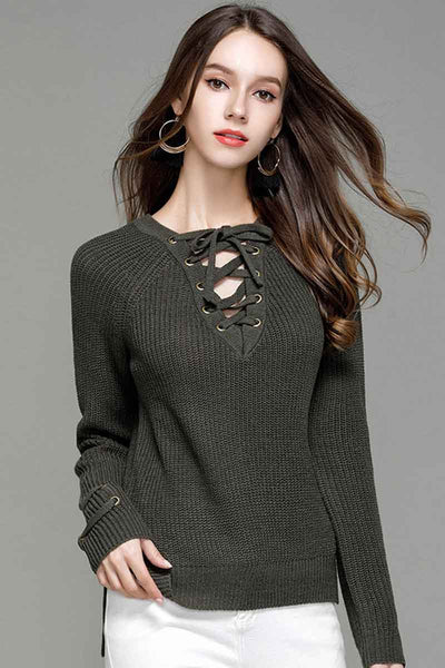 Ellady Long Sleeve Cozy Lace Up Sweater