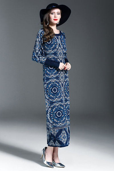 Ellady National Jacquard Wool Knitting Dress