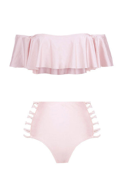 Ellady Off the Shoulder Flounce High Waisted Bikini Set