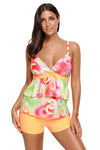 Ellady Orange Floral Print Tankini Swimsuit