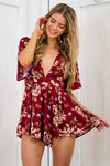 Ellady Red V Neck Floral Tie Waist Jumpsuit