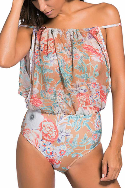 Ellady Sexy Floral Print One-piece Swimsuit
