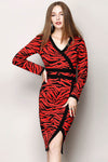 Ellady Luxury Sexy Leopard V-neck Long Sleeve Knit Dress