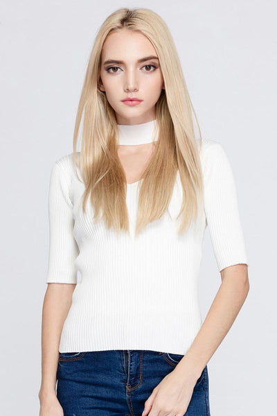 Ellady Solid Color Choker V Neck Sweater