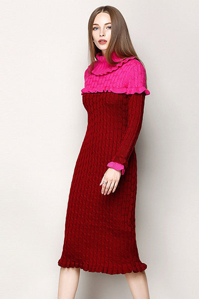 Ellady Luxury Wool Falbala Knit Dress