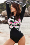 Floral Striped Long Sleeve One-piece Swimsuit