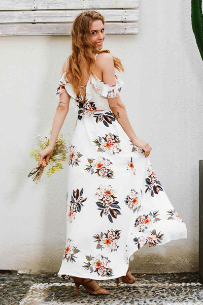 Floral Ruffles Chiffon Split Backless Maxi Dress