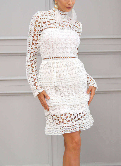 Hollow Out Short Ruffle Lace Dress
