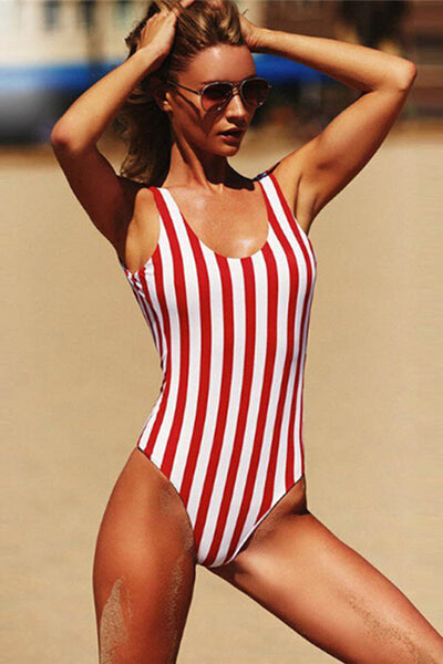 Hot Summer Backless Striped One Piece Swimsuit
