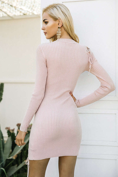 Lace Up Split Knitted Sweater Dress