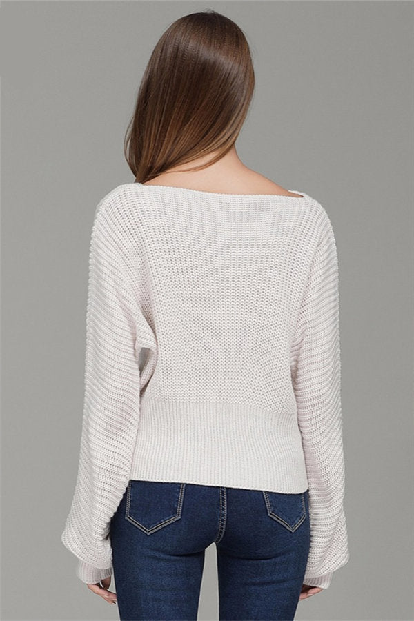 Loose Knitted Pullover Lace Up Sweater
