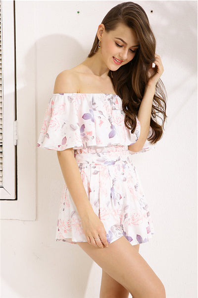 Off Shoulder Ruffles Floral Print Sweet Romper