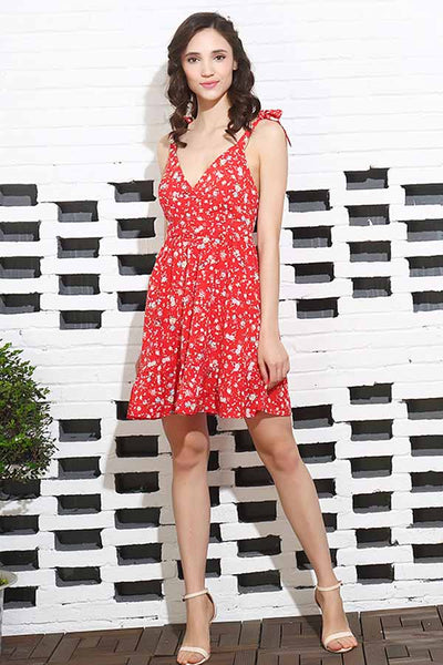Red Flower Print Backless Summer Dress