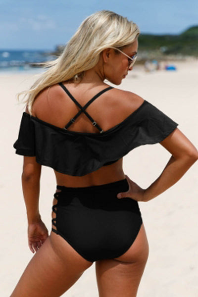 Ellady Ruffle Off Shoulder High Waist Swimsuit