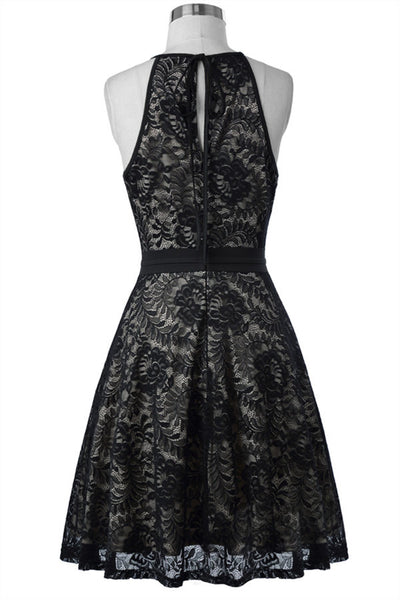 Short Sleeveless Vintage Black Lace Evening Dress