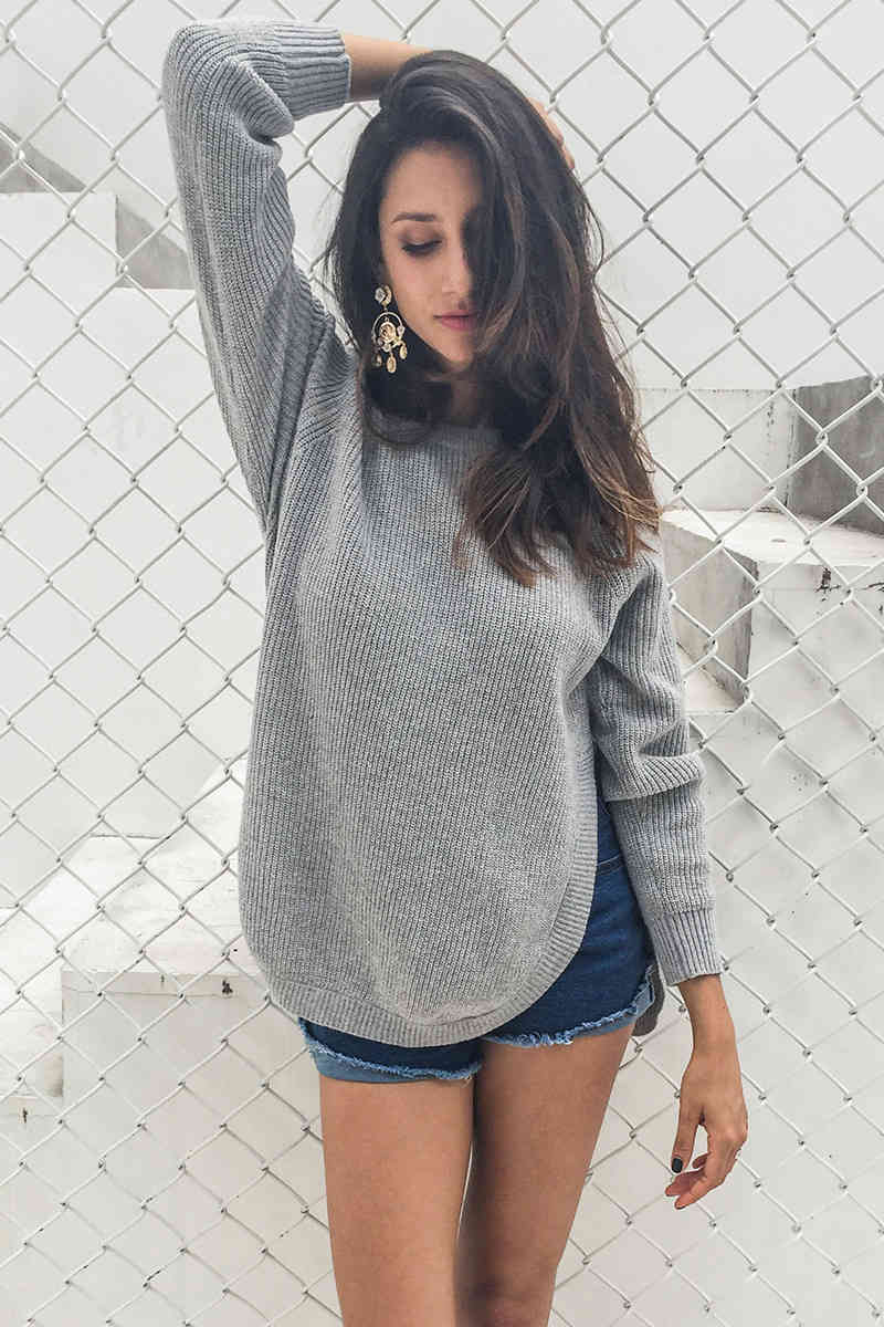 Side Split Knitting Pullover Casual Sweater