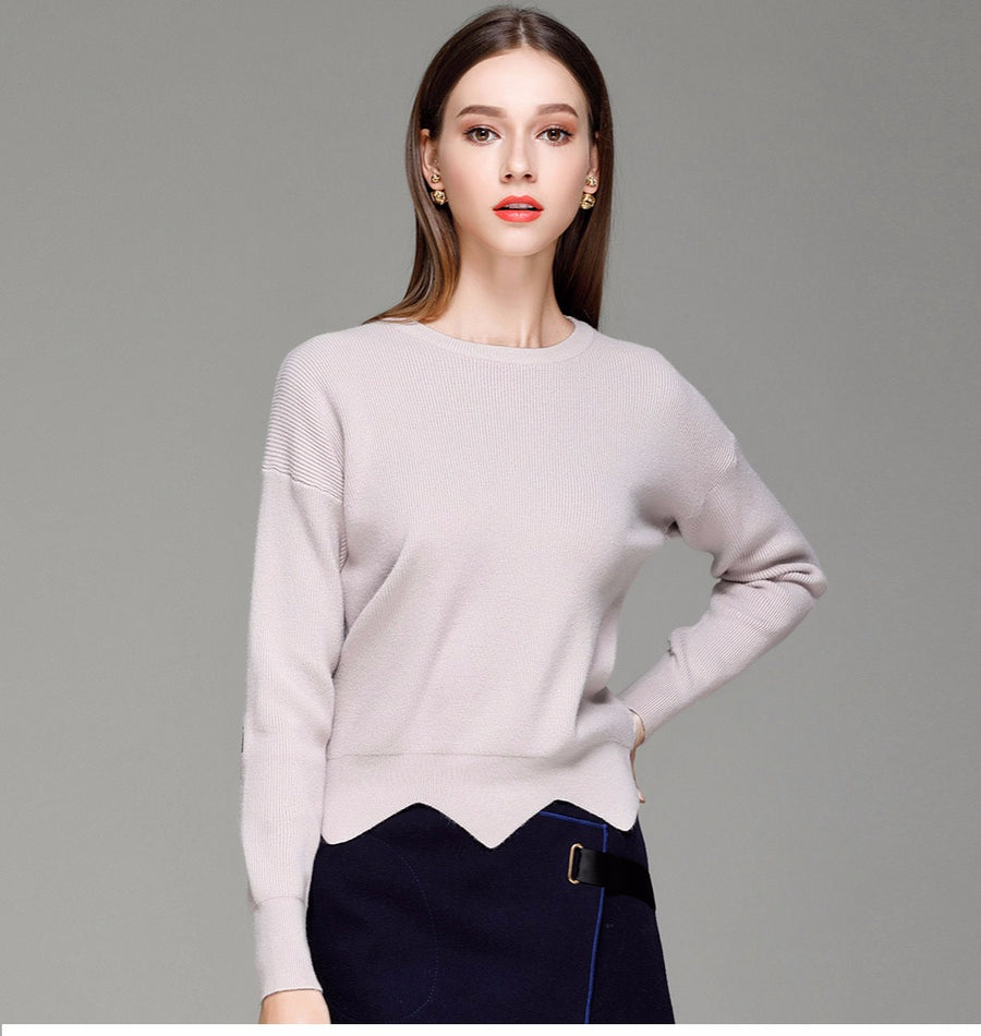 Solid Pullover Long Sleeve Irregular Knitted Jumpers