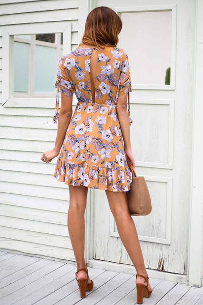 Sunshine Ruffle Floral Mini Dress
