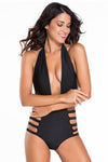 Ellady Black Open Back Halter One Piece Bikini