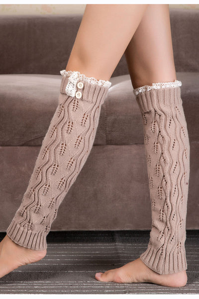 Ellady Women's Boot Cuff Socks Lace With Buttons