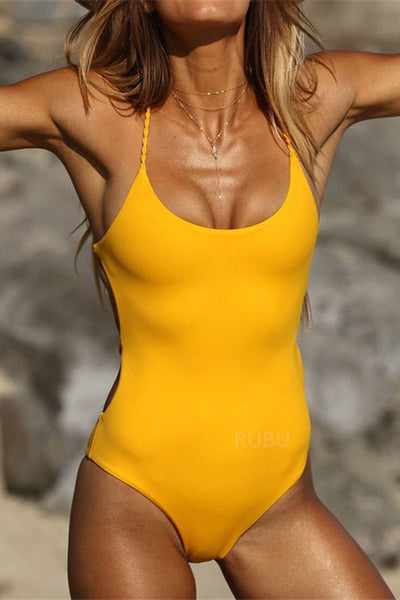 Yellow Backless Brazilian One Piece Swimsuit