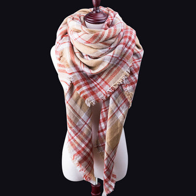 Women Plaid Cashmere Warm Scarves