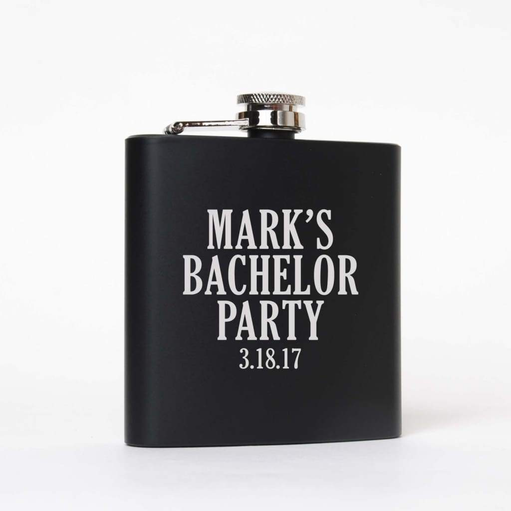 Bachelor Party Gifts Favors Supplies - Personalized Black & Silver Flasks