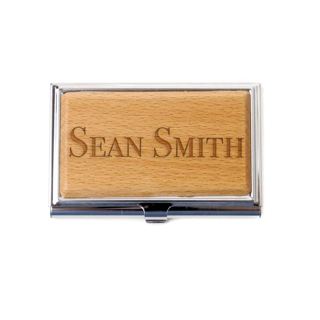 Bamboo Business Card Holder - Personalized Laser Engraved Business Card Case for Men