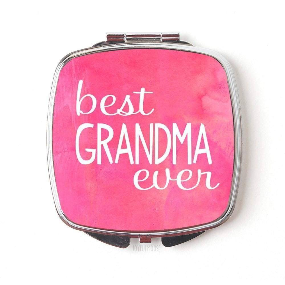Best Grandma Ever Compact Mirror - Mother's Day Gift for Grandmother - Pink Watercolor Pocket Mirror