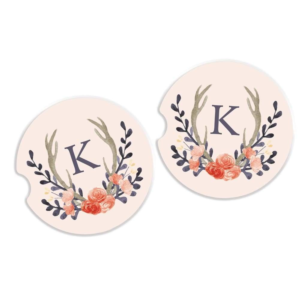 Car Coaster - Personalized Sandstone Car Cup Holder Coaster - Car Accessory - Floral Wreath Antlers