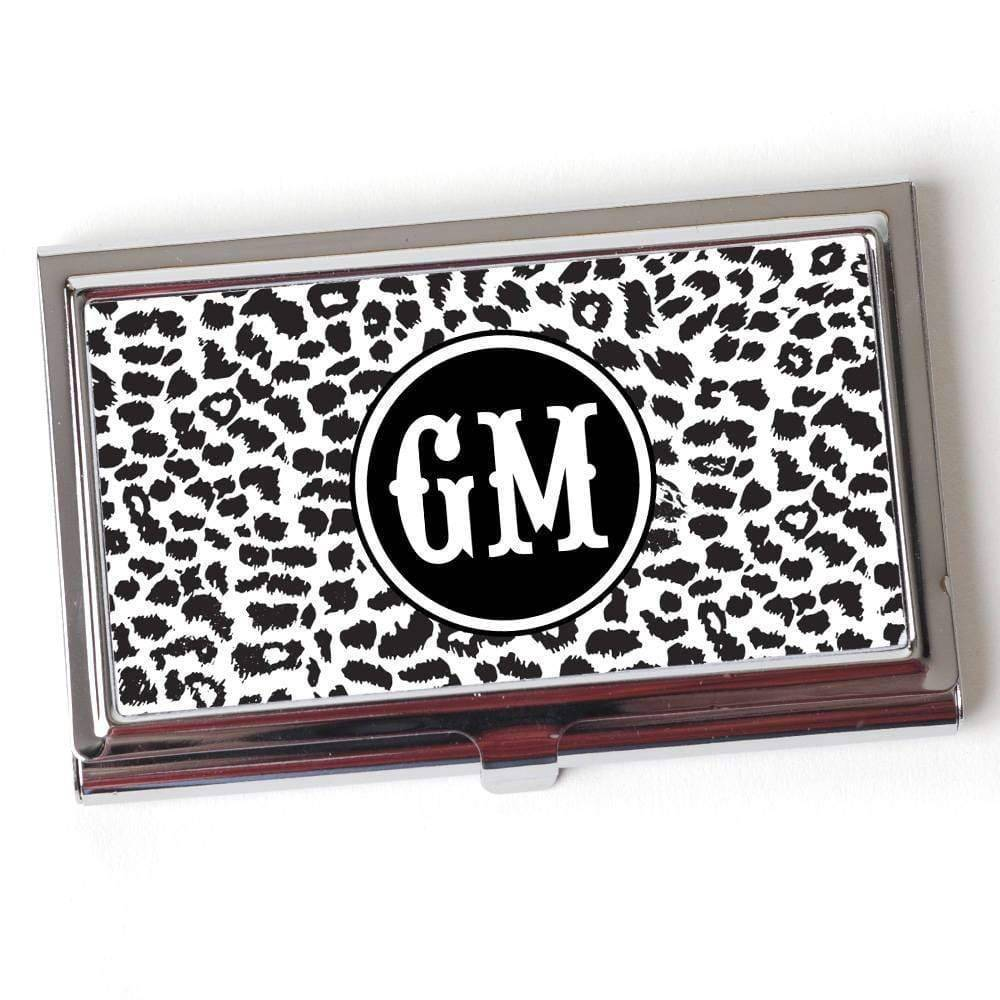 Cheetah Monogram Business Card Case