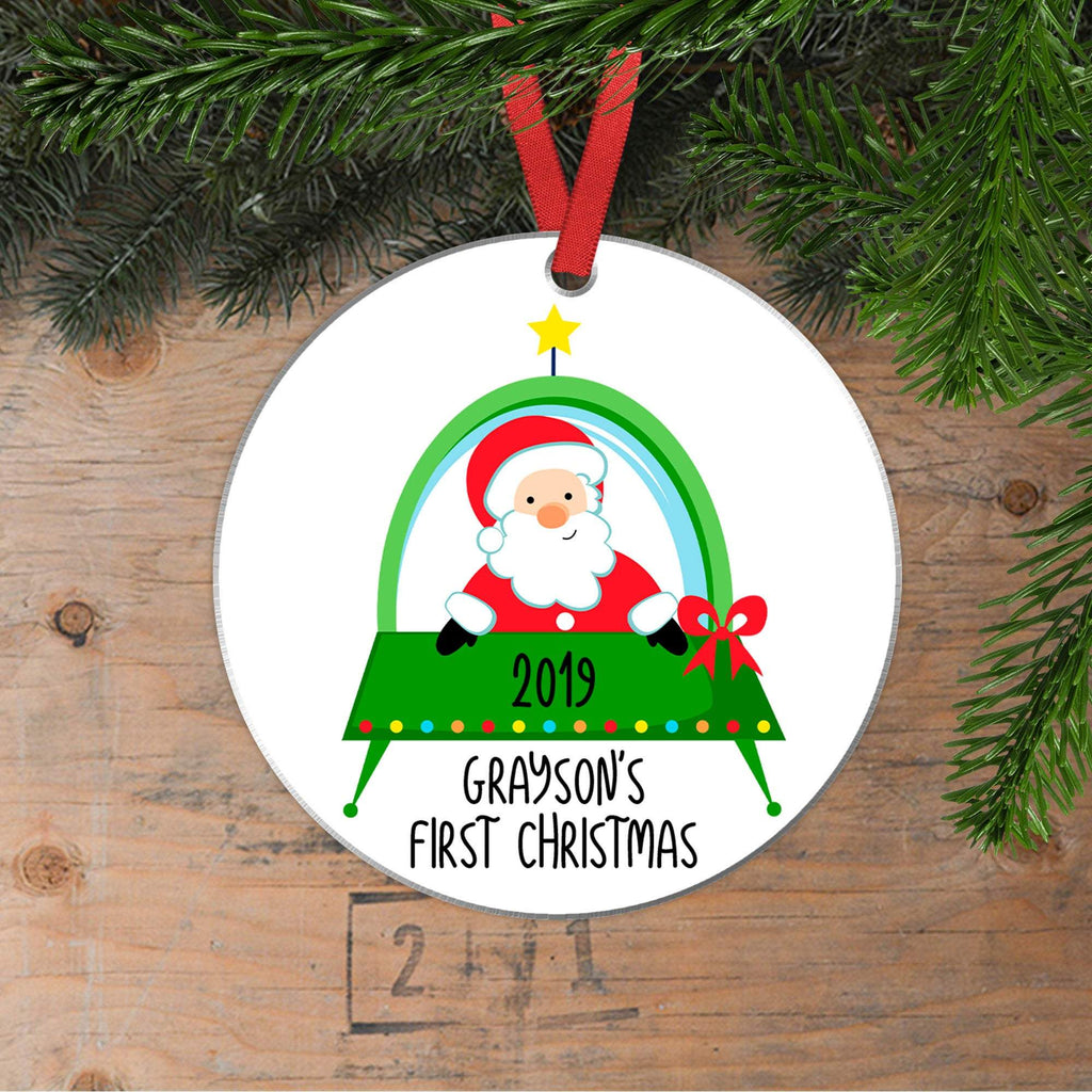 Christmas Ornament for Boy, Santa's Space Ship Personalized Ornament, Custom Christmas Gift for Boys