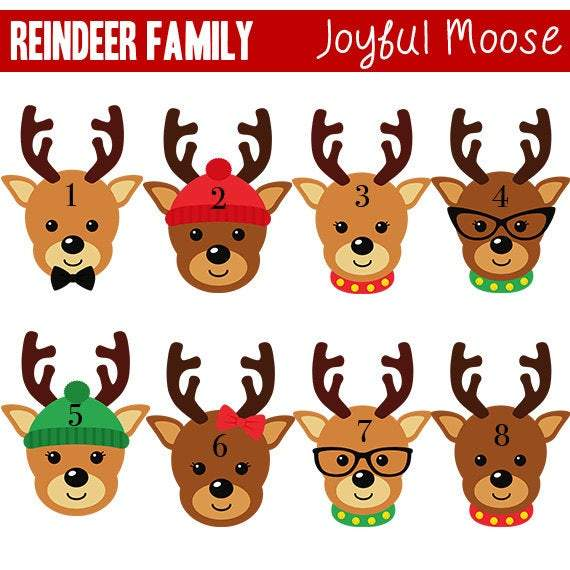 Christmas Ornament Reindeer - Custom Family of 4 Gift Idea under 15 - Black Friday Shopping Christmas Ornaments
