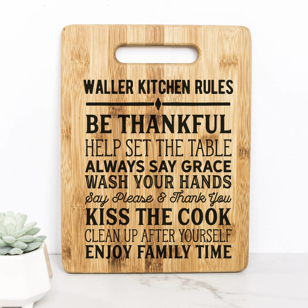 Custom Kitchen Rules Cutting Board, Personalized Bamboo Kitchen Decor, Family Rules Gift