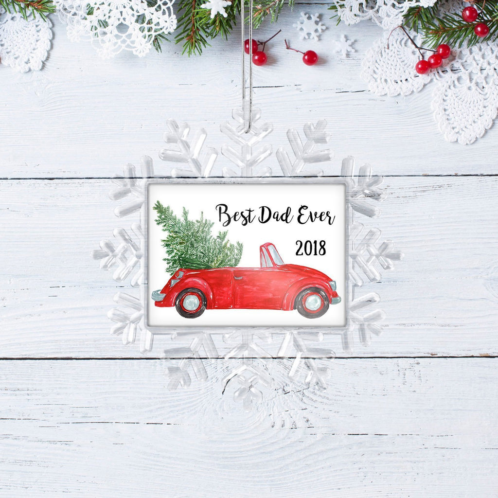 Dad Christmas Gift for Dad - Red Convertible Christmas Ornament