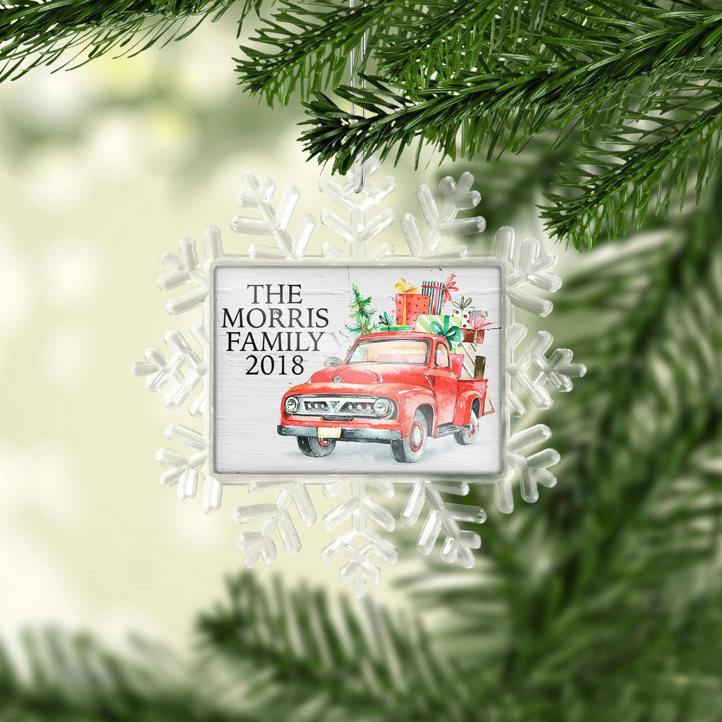 Family Christmas ornament - Vintage Red Truck Christmas Tree Ornament for Family