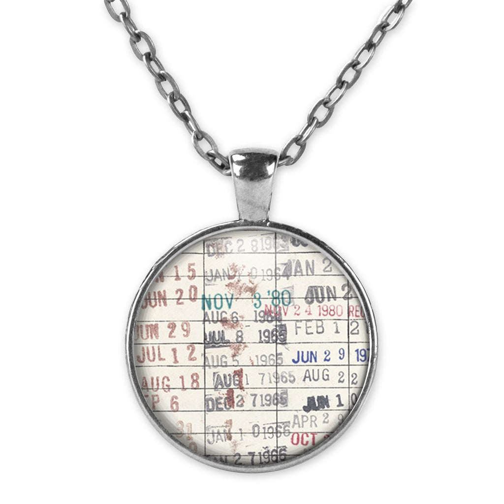 Gifts for Book Readers - Circle Pendant Necklace with Library Due Date Card - Book Jewelry