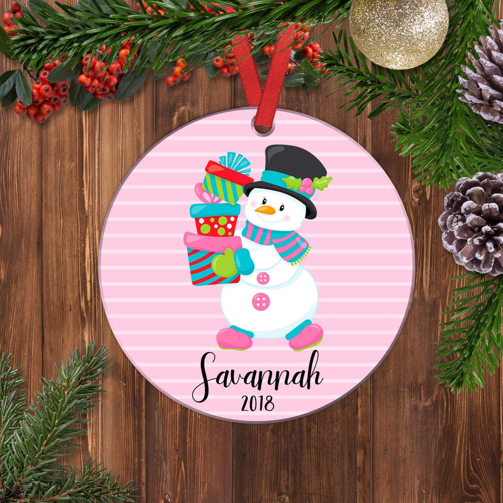 Girl Ornament - Personalized Christmas Ornament - Pink Snowman Gifts