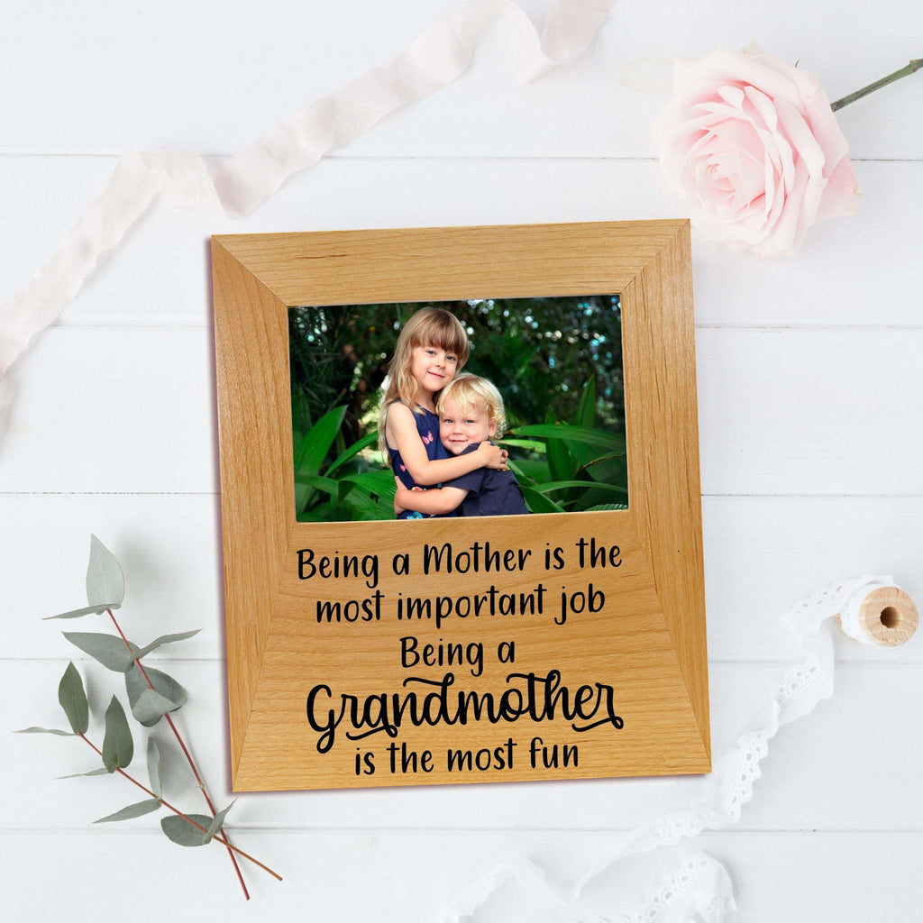 Grandmother Photo Frame - Mothers Day Gift for Grandma - Wood Picture Frame Inspirational Quote