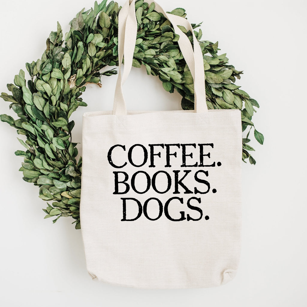 Grocery Bag - Coffee Books Dogs Canvas Tote Bag - Reusable Cotton Shopping Market Bag