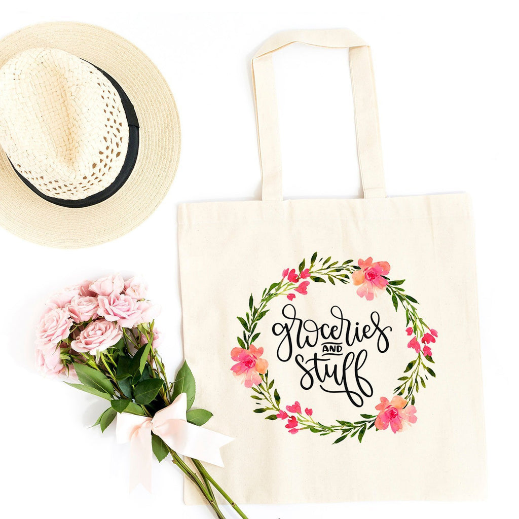 Grocery Bag - Floral Groceries & Stuff Canvas Tote Bag - Reusable Cotton Shopping Market Bag