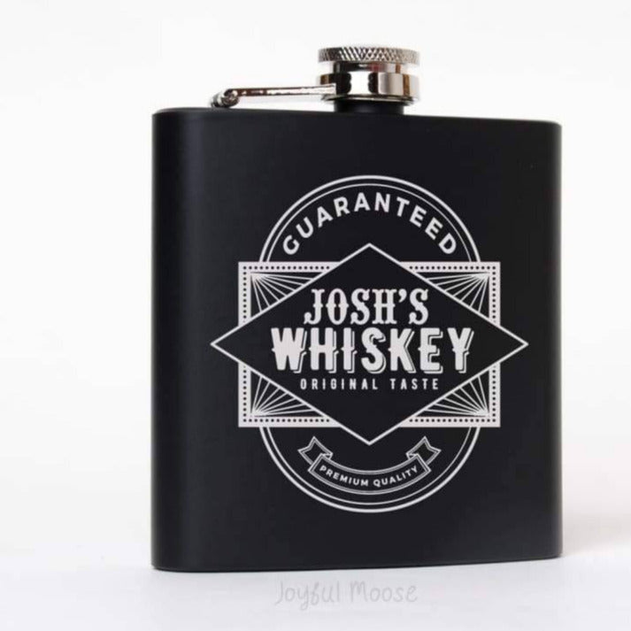 Groomsmen Gifts Flasks - Personalized Black & Silver Flask