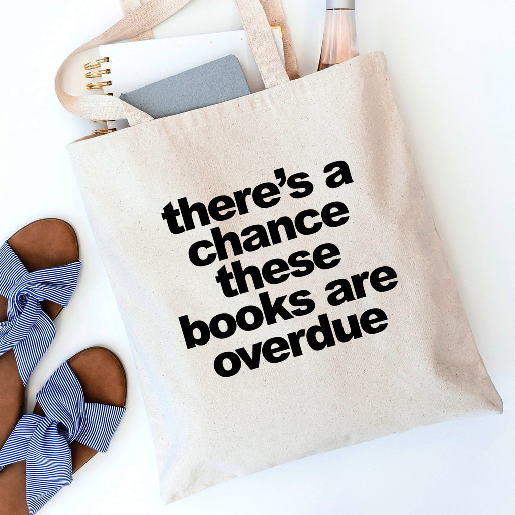 Book Bag, Funny Canvas Tote Bag, Overdue Library Books Shopping Bag