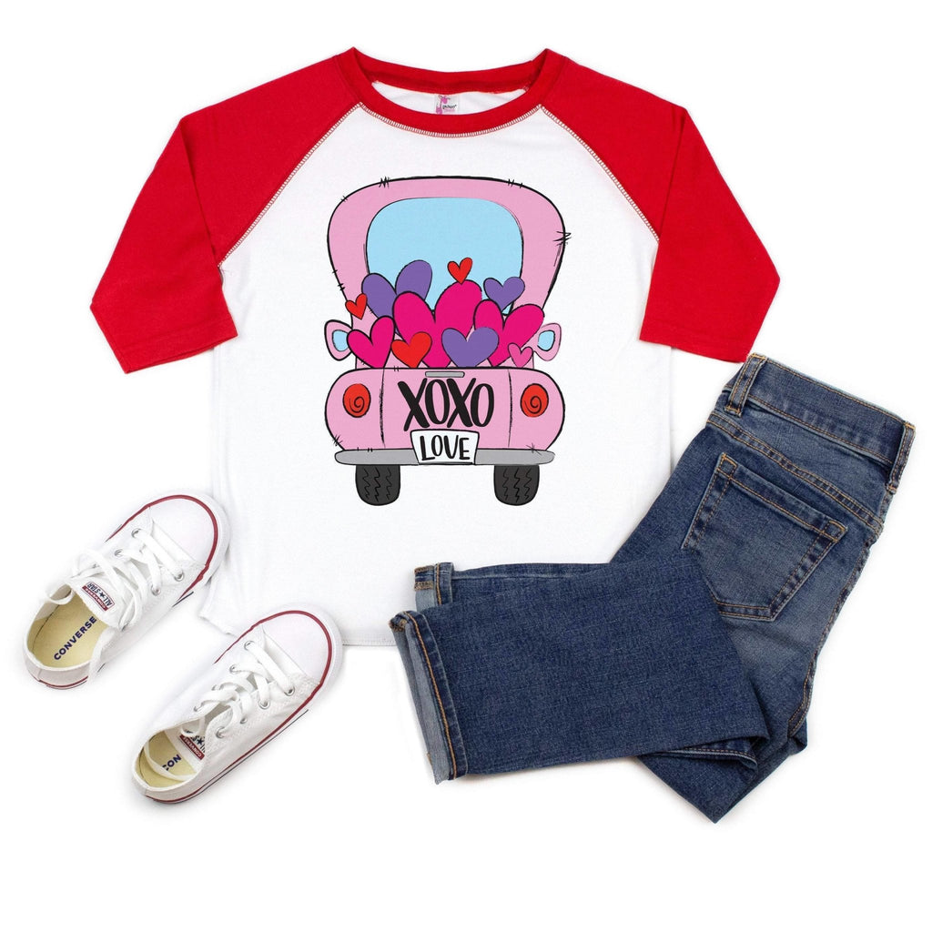 Kids Valentines Day Shirt - Pink Truck full of hearts - Red raglan sleeve toddler tee